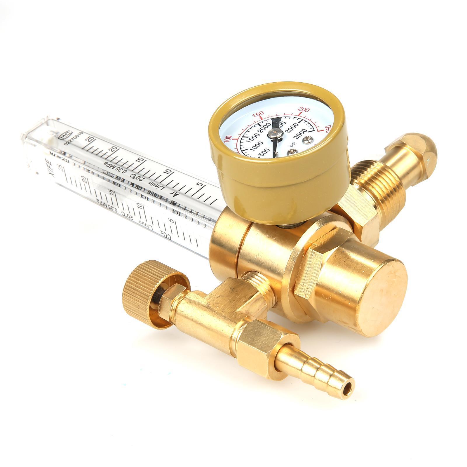 Universal Copper Argon CO2 Regulator Flowmeter Gas Pressure Gauge 3