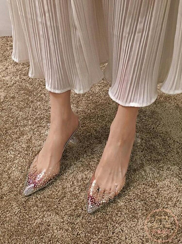 高跟涼鞋 涼鞋女2019新款百搭INS仙水鉆透明尖頭細跟2020春款高跟鞋春【全館82折】