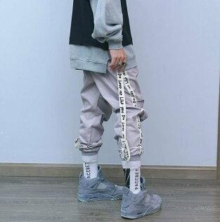 FINDSENSEZ1韓國男時尚街頭嘻哈休閒寬鬆字母印花飄帶可拆休閒褲長褲束口褲小腳褲