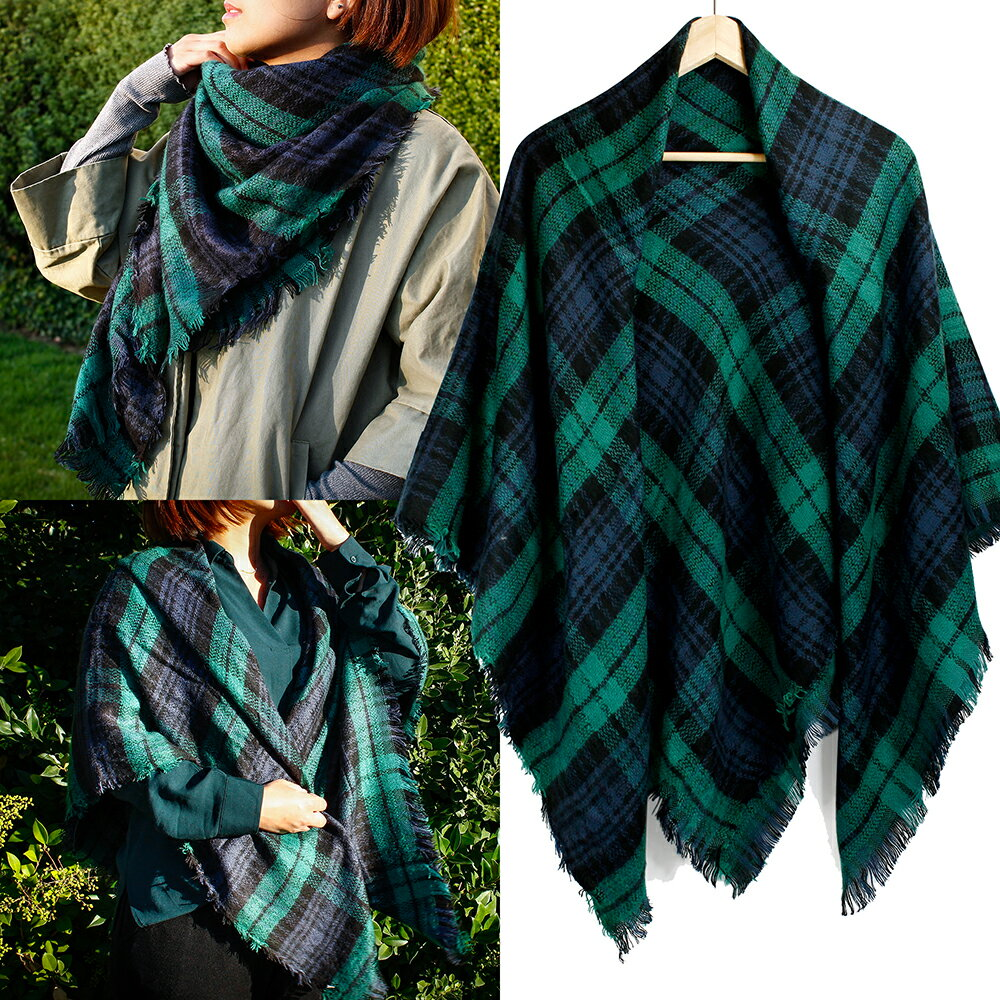 Women Plaid Scarf Tartan Wrap Lattice Large Warm Cozy Blanket Soft Shawl Checked Winter Scarfs for Women 3