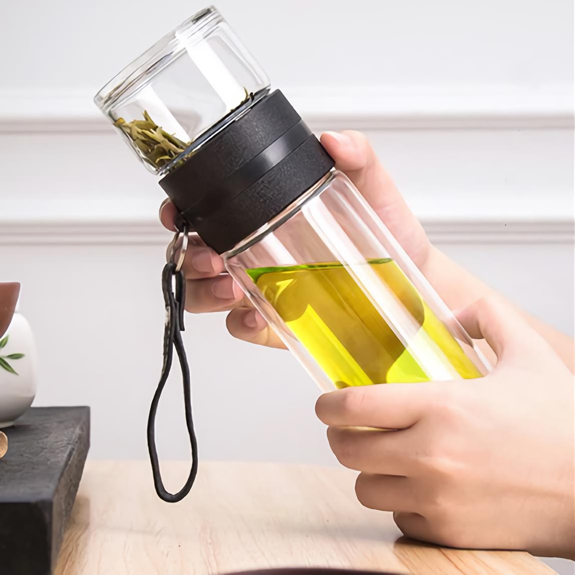玻璃杯茶水分離雙層防燙過濾泡茶杯戶外便攜隨手杯車載水杯帶提手