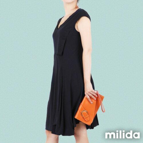 【Milida,全店七折免運】-夏季洋裝-無袖款-百搭V領百摺款 2