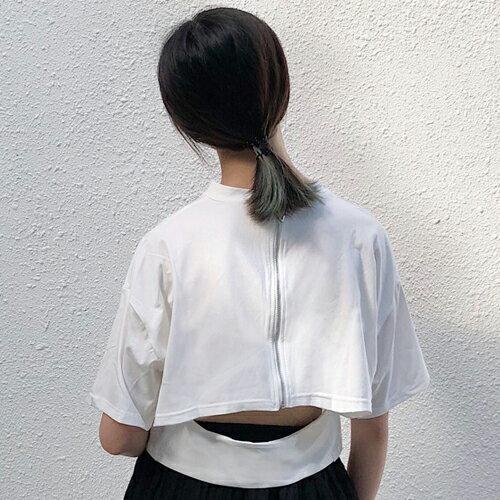 PS Mall 背後拉鍊露腰短版圓領短袖T恤【T648】 1