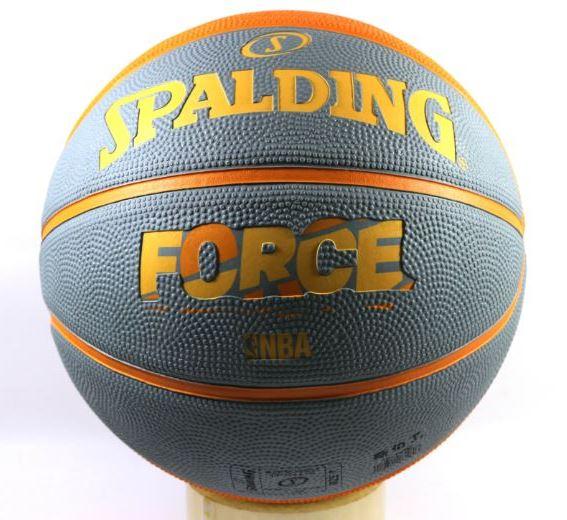 [陽光樂活斯伯丁 SPALDING NBA籃球 Force Rubber 系列 灰橘-7號球SPA83180贈品 高級運動襪乙雙
