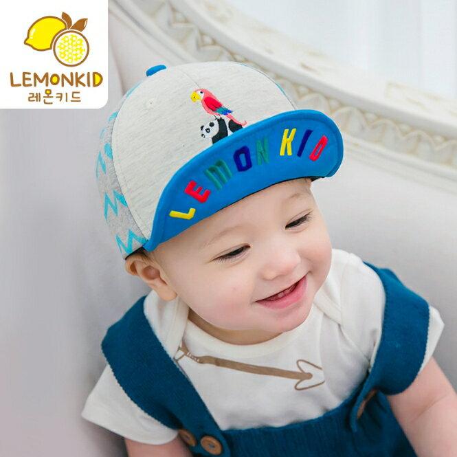Lemonkid◆時尚百搭動物樂園刺繡彩色字母翻帽沿軟沿兒童帽-藍色