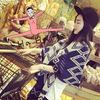 韓版印花女圍巾  AngelNaNa 韓國熱賣 仿羊絨 雙面 菱格 小格子 女圍巾 披肩 【SA0011】