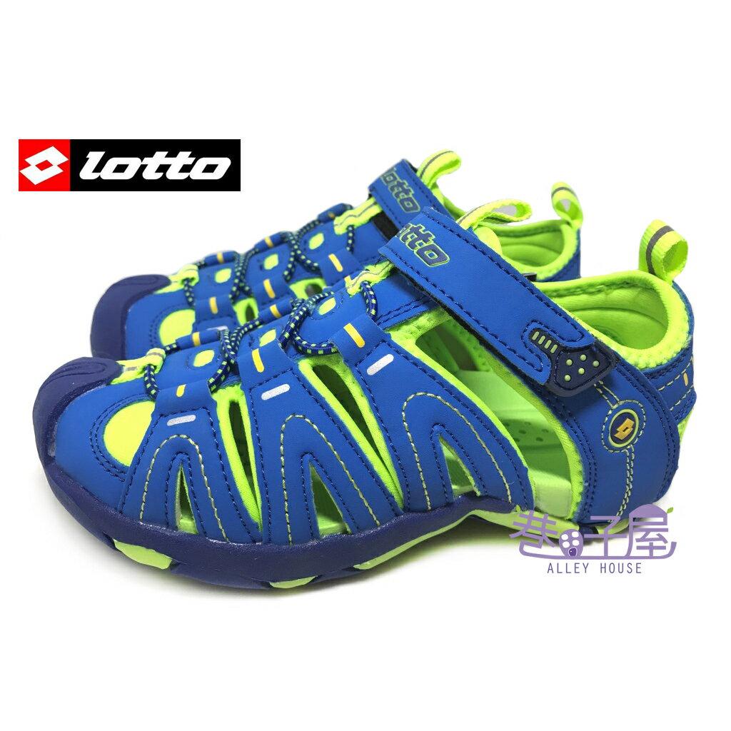 【巷子屋】義大利第一品牌-LOTTO樂得 男童五大機能護趾運動涼鞋 [1696] 藍綠 超值價$398