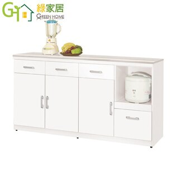 【綠家居】艾登絲時尚白5.4尺雲紋石面餐櫃收納櫃