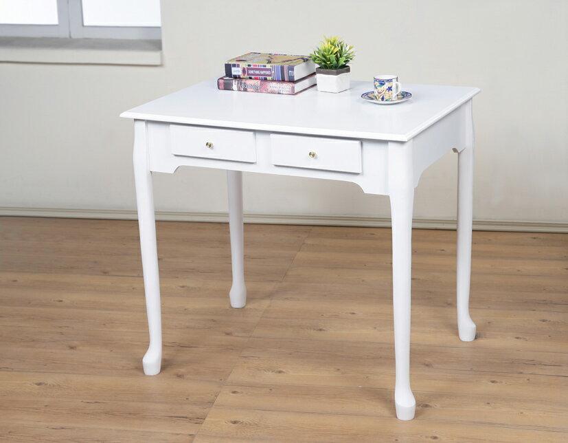 80公分防潑水二抽書桌 美甲桌 電腦桌 工作桌 餐桌 【馥葉】型號DE860 簡易組裝~可加購玻璃、椅子