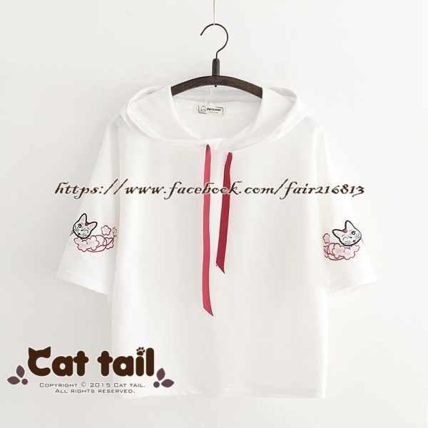 《貓尾巴》TS-0622日系可愛貓咪刺繡短袖上衣(森林系日系棉麻文青清新)