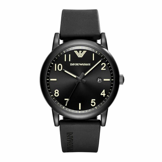 大高雄鐘錶城 EMPORIO ARMANI亞曼尼 AR11071 前衛時尚橡膠帶腕錶/ 黑面43mm