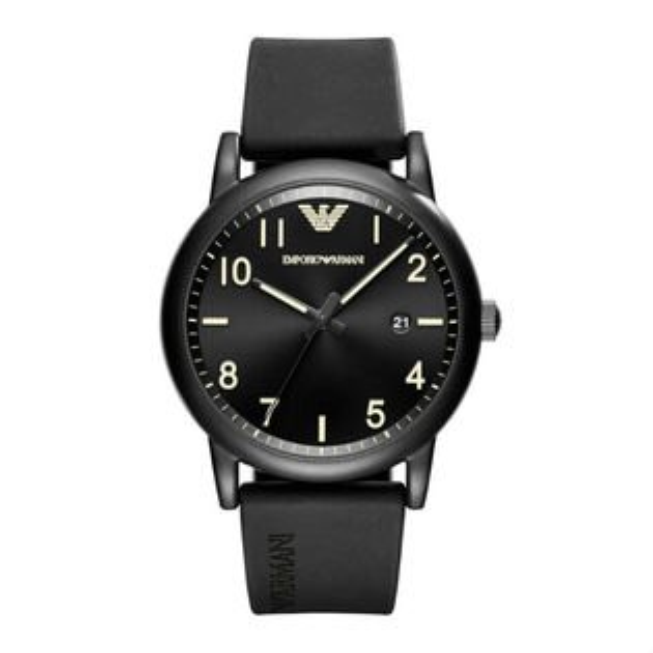 大高雄鐘錶城:EMPORIOARMANIAR11071亞曼尼前衛時尚橡膠帶腕錶黑面43mm