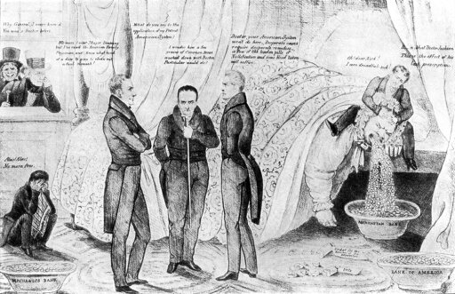 Andrew Jackson Cartoon NThe Doctors Puzzled Or The Desperate Case Of Mother US Bank American Cartoon 1833 Depicting The Bank Of The United States As Disgorging Federal Funds Into Smaller Banks While President Andrew Jackson Peeks Through The Window A 2c5