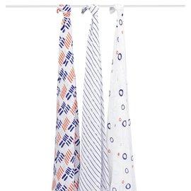 【淘氣寶寶】美國 Aden + Anais 竹纖維雙層細紗布輕柔新生兒包巾(3入裝/公司貨) (藍色冒險R901)★英國喬治小王子御用包巾品牌