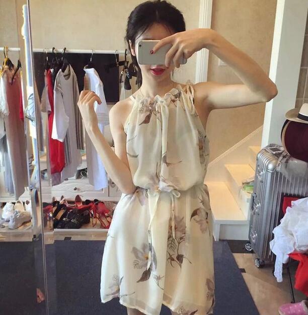 韓系水墨印花領口褶皺掛脖雪紡無袖連衣裙洋裝 ~  好康折扣