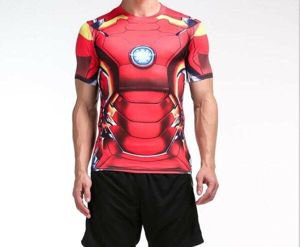 FINDSENSEMD日系時尚男高彈力緊身運動短T訓練服跑步健身T恤紅色3D機器人圖案短袖T恤