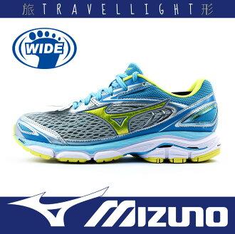 【MIZUNO 美津濃】WAVE INSPIRE 13 女慢跑鞋 學生鞋 舒適 輕運動 透氣 柔軟 寬楦 灰藍色 Travellight旅形