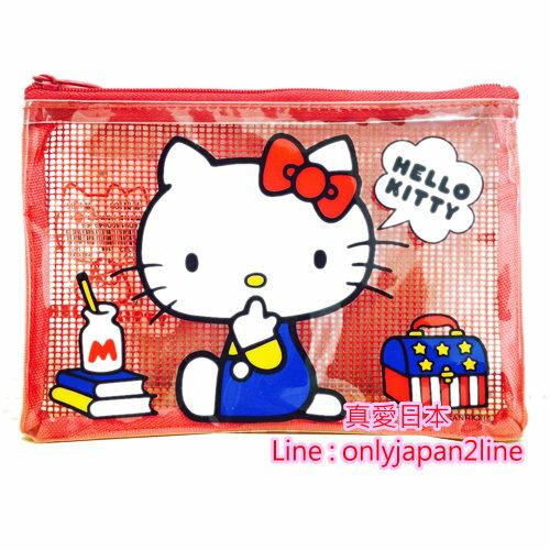 【真愛日本】16091400051  網格拉鍊小收納袋-側坐KT紅   KITTY 凱蒂貓 三麗鷗  收納袋 生活雜貨