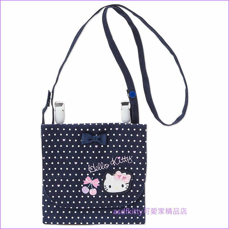 asdfkitty可愛家☆KITTY藍櫻桃 薄夾棉布2用側背包-背面可抽取面紙-日本製