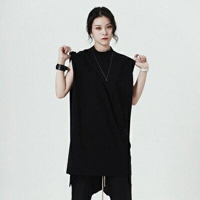 無袖T恤中長款-純色簡約寬鬆小立領女上衣73sl32【獨家進口】【米蘭精品】