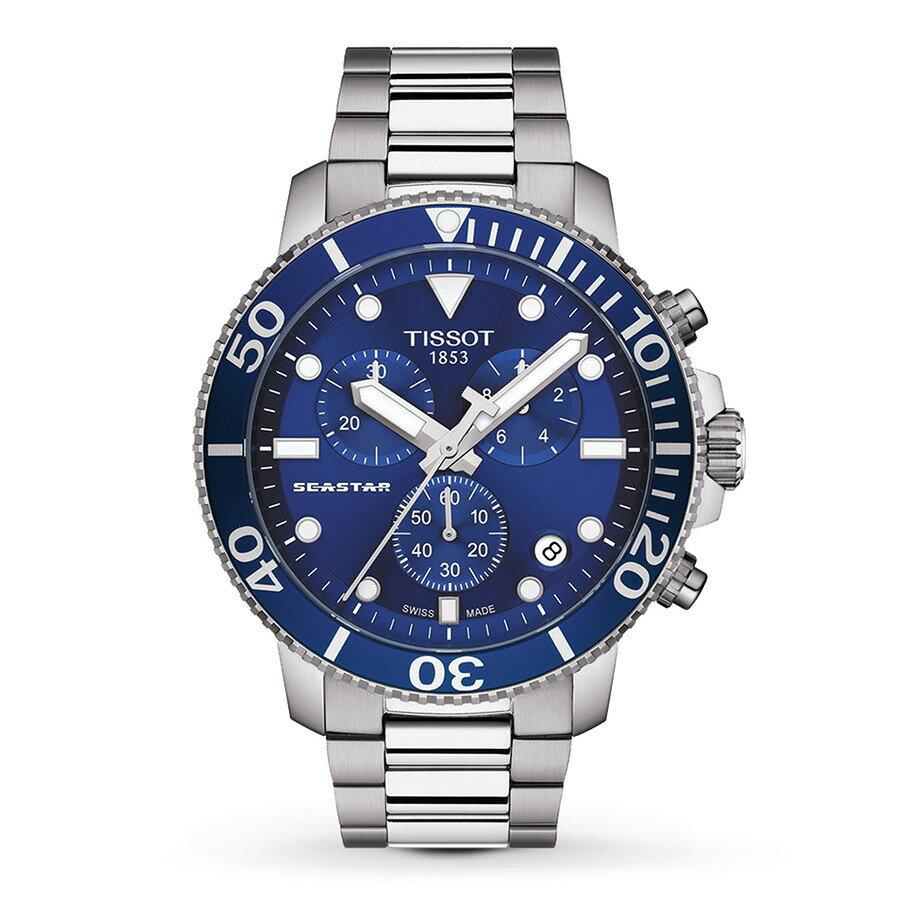 TISSOT 天梭 T1204171104100 SEASTAR海洋之星 潛水錶 藍 鋼帶 45.5mm 0