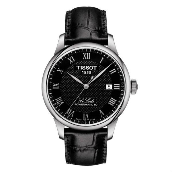 TISSOT天梭錶T0064071605300力洛克經典80小時動力機械腕錶黑面39.3mm