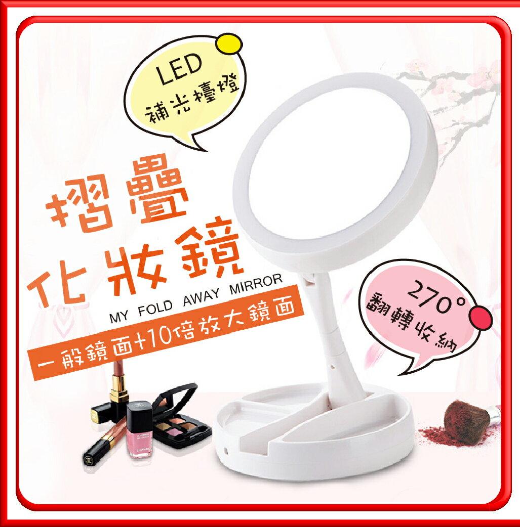 【LED雙面摺疊化妝鏡】放大鏡 USB化妝鏡 鏡子 化妝品收納盒 梳妝鏡 補光燈 摺疊鏡 立鏡 補妝鏡 收納盒 置物盒【DE363】