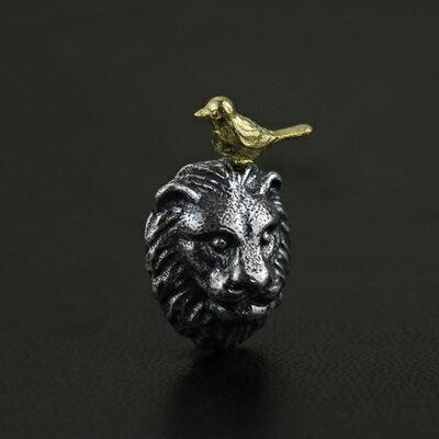 ~925純銀項鍊 吊墜~獅子與小鳥文藝 情人節生日 女飾品2色73gm86~ ~~米蘭 ~