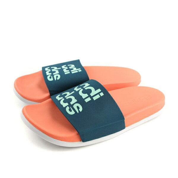 adidasADILETTECOMFORT拖鞋防水藍橘女鞋B42210no609