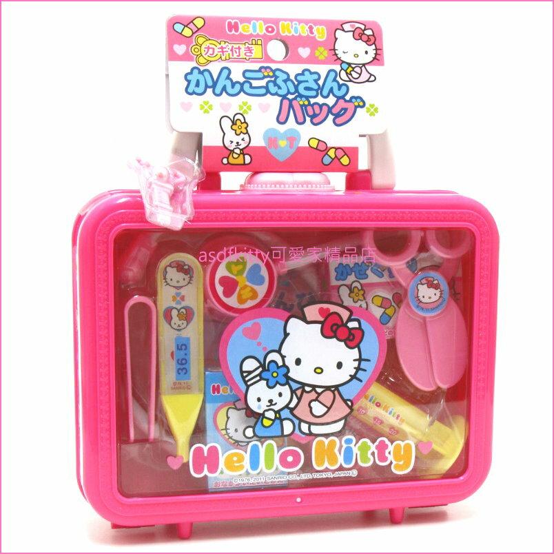 asdfkitty可愛家☆KITTY小護士醫生兒童玩具組附手提收納盒-扮家家酒-日本正版