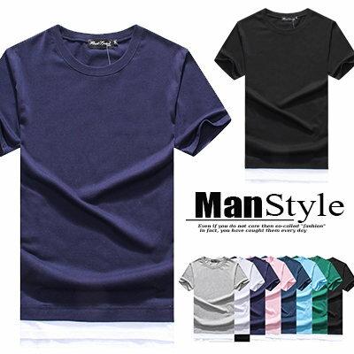 ~均一價288元~ManStyle潮流 短袖T恤素面純色雙色拼接假兩件圓領上衣男裝~ 全店
