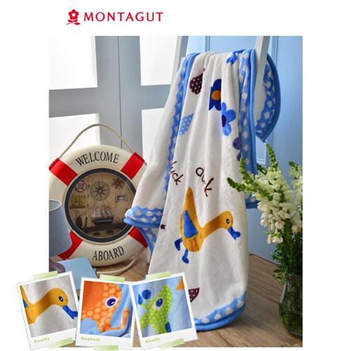 【奇買親子購物網】法國夢特嬌MONTAGUT雙層法蘭童毯(長頸鹿大象鴨子)