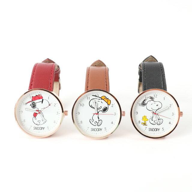 雙12 Supersale 整點特賣12 / 6 17:00開賣★【Snoopy皮革手錶】Norns 正版 史努比Peanuts 手足造型指針腕錶 聖誕節禮物 1