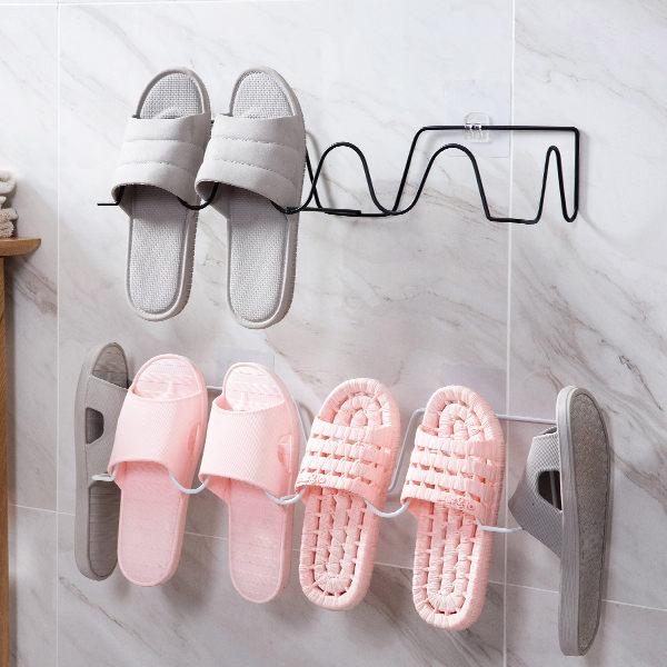 PSMall鐵藝壁掛鞋子收納架浴室拖鞋架【J2309】