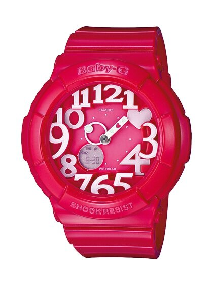 CASIO BABY-G BGA-130-4B霓虹雙顯流行腕錶/桃紅43.1mm