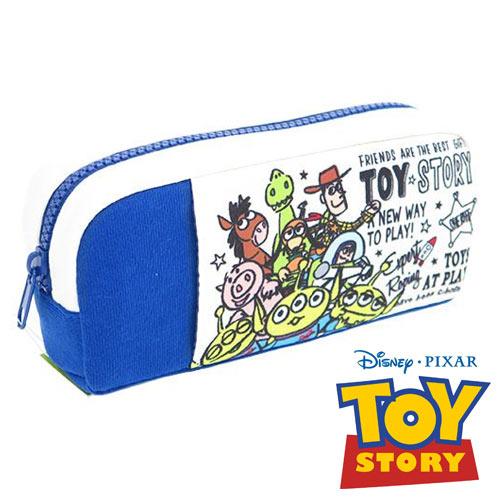 藍色款【日本進口正版】玩具總動員 厚棉 大筆袋 鉛筆盒 化妝包 收納包 TOY STORY 迪士尼 - 835975