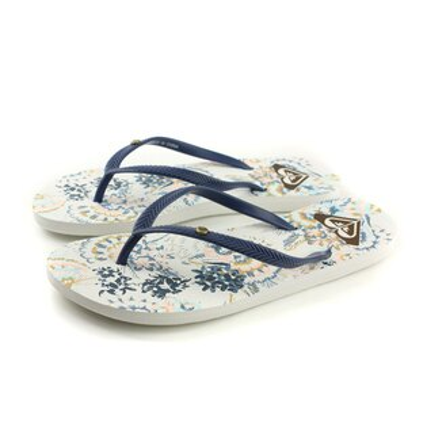 HUMAN PEACE:ROXY夾腳拖鞋印花白藍女鞋ARJL100664-LBLno039