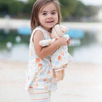 【好優Hoyo】美國Under The Nile 有機棉背心裙+卡布里7分褲套裝 (熱氣球/粉彩條紋) 6-9個月