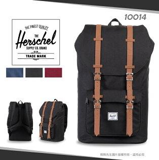 《熊熊先生》學院風Herschel素色休閒後背包帆布雙肩包LITTLEAMERICA商務包透氣寬版背帶15吋筆電包10014學生書包