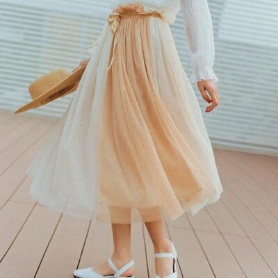 半身裙網紗中長裙-飄逸仙氣清新氣質女裙子73rw13【獨家進口】【米蘭精品】