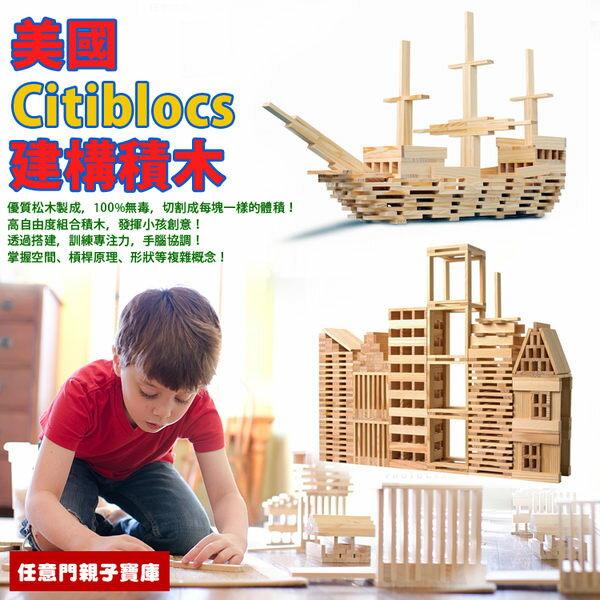 《任意門親子寶庫》超大堆塔積木 創意搭建積木【TY221】Citiblocs 原木建構積木組 300PCS