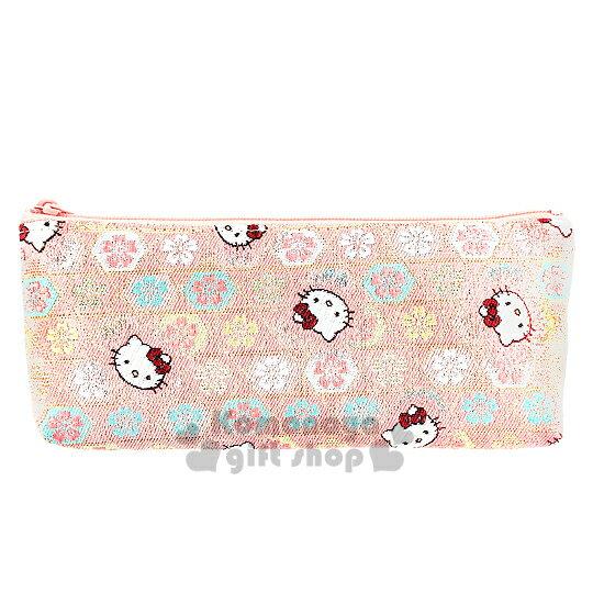 <br/><br/>  〔小禮堂〕Hello Kitty 日製拉鍊筆袋《粉.大臉.櫻花滿版》濃濃日系和風<br/><br/>