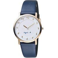 agnès b.眼鏡推薦到agnes b.簡約手繪時標石英錶 7N00-KEX0B  BG4020P1 藍色就在寶時鐘錶推薦agnès b.眼鏡