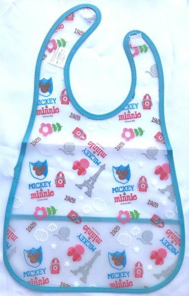 日本 迪士尼 藍色米奇米妮 2WAY 兩用透明防水圍兜 口水巾 吃飯用餐 防漏 反摺口袋圍兜*夏日微風*