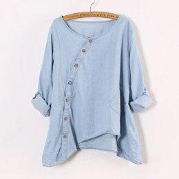 牛仔襯衫 斜門襟不對稱襯衫上衣 衣服日系  預購 ibella