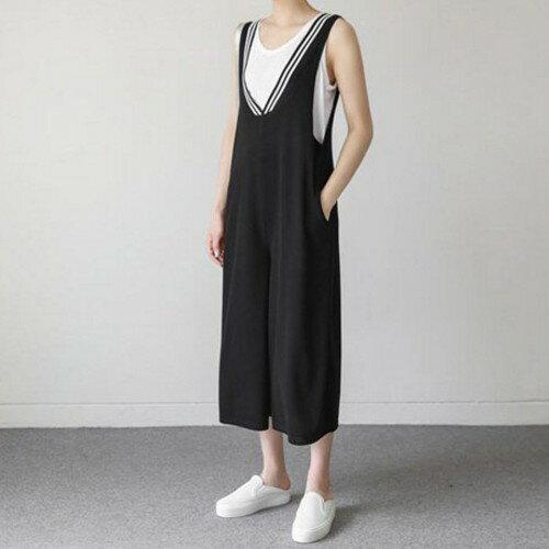 《現貨出清5折》條紋前後V領連身褲(共2色,M-2XL) - 梅西蒂絲(現貨+預購) 3