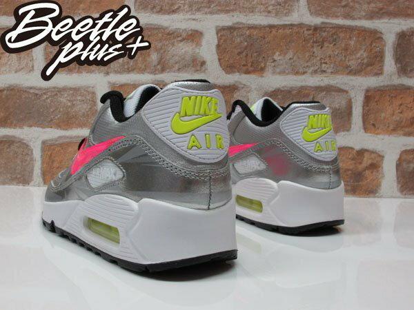 BEETLE PLUS NIKE AIR MAX 90 FB GS 亮面 皮革 銀白 粉勾 氣墊 慢跑鞋 705392-001 2