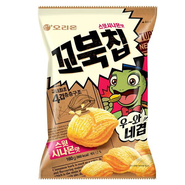 好麗友烏龜玉米脆片-肉桂風味家庭號(160gX10包箱)