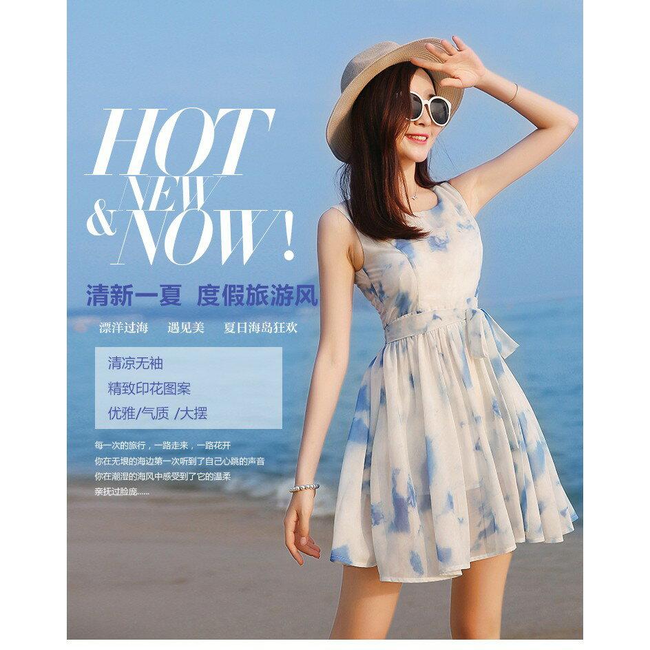 韓版時尚潮流xs夏無袖雪紡洋裝波西米亞海邊沙灘裙小個子女裝顯高店150cmLB13977《小蘿莉》 3