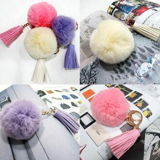 掛飾鑰匙扣兔毛球皮革流蘇(杏、粉、紫)-JC Collection